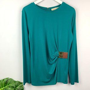 Michael Kors Teal Draped Buckle Waist Blouse